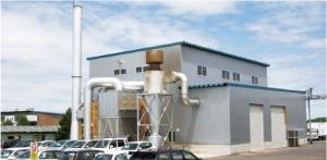 北海道健誠社のクリーニング工場。木質バイオマスボイラーを導入している