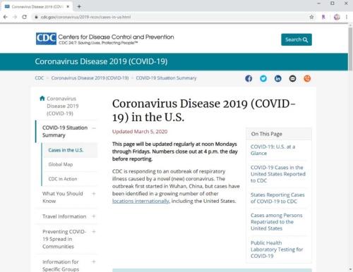 米疾病対策センター(CDC)が発表している米国内の新型コロナウイルスの感染状況