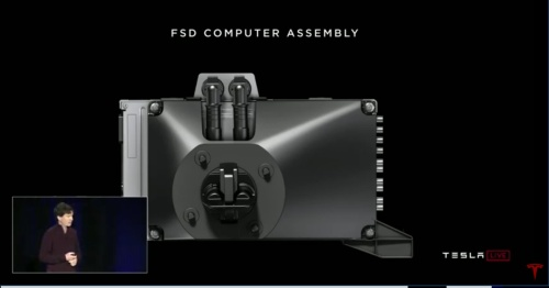 車載コンピューター「FSD」(テスラの公式サイトの動画より)