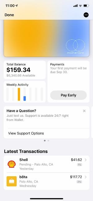 Apple Cardの履歴管理画面。Apple Payでの支払いは2%のポイントが付与されている