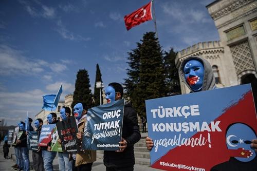 ウイグル巡る中国の政策に抗議 トルコでデモ(写真:AFP/アフロ)
