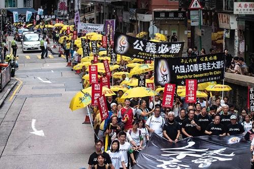 親民主主義の人々が香港でデモを実施した(写真:AFP/アフロ)