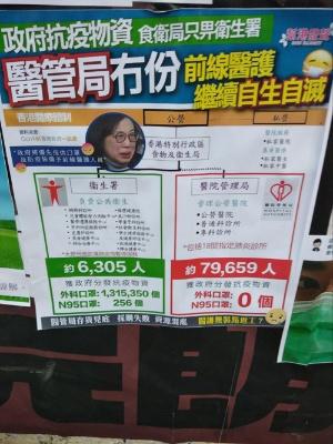 香港大学駅近くのレノンウオールに貼られた、政府から医療従事者にマスクの支給がないことへの批判(撮影:著者)