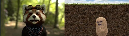 「FaceRig」(左)や「Snap Camera」(右)といったソフトウエアを使えば、自身をアバターで表示できる。動物から謎のジャガイモまで、アバターは数多い。技術があれば自分で作成することも可能だ