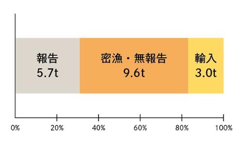 2014~15年に日本の養殖場に入ったシラスウナギの内訳。18.3トンのうち、3.0トンが輸入、15.3トンが国内採捕。国内採捕の15.3トンのうち、適切に報告されているのは5.7トンのみで、残りの9.6トンは密漁または無報告漁獲などの違法な採捕・流通が関与していると考えられる。また、輸入された3.0トンも、原産国から密輸された疑いが強い。