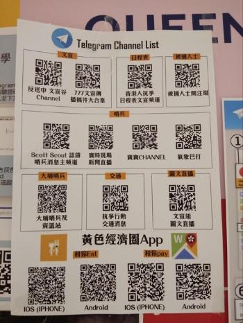 国安法施行以前に街頭に張られていた、抗議者が参考にできるメッセージアプリ「Telegram」チャンネルなどの一覧。下部に黄色経済圏のためのアプリの紹介もある