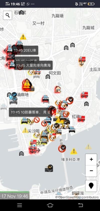 警察の位置が分かる抗議者向けアプリ。「犬」は警察を示しており、画面中央が香港理工大学である