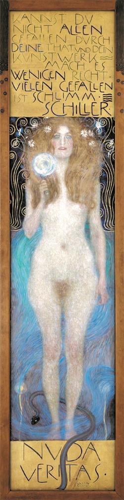 グスタフ・クリムト《ヌーダ・ヴェリタス(裸の真実)》<br />1899年 油彩、カンヴァス 244×56.5cm オーストリア演劇博物館<br />(C)KHM-Museumsverband, Theatermuseum Vienna