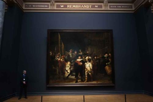 レンブラント・ファン・レイン「夜警」(アムステルダム国立美術館、写真:田中靖浩氏撮影)