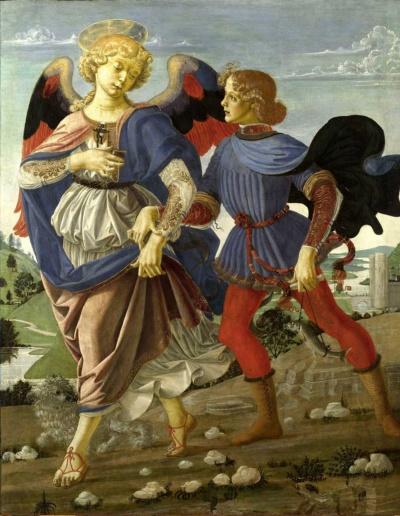 アンドレア・デル・ヴェロッキオ「トビアスと天使」(写真:Polaris/amanaimages)