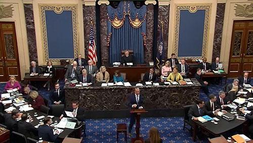 トランプ大統領に対する弾劾裁判が始まった(写真:US Senate TV/AFP/アフロ)
