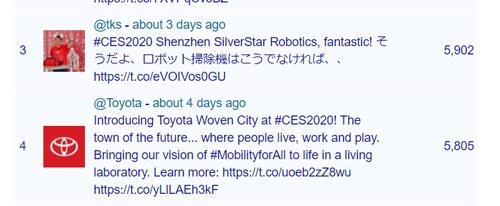 ハッシュタグごとにツイートを分析するサイトaka.tvが掲載したCES2020でのランキング。ロボット掃除機へのツイートは大きな注目を集めた