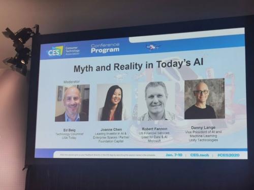 CESで開催された「現在のAIについての神話と現実」セッション。USAトゥデーのエド・バーグを司会に、マイクロソフト、ユニティ・テクノロジーなどから実務担当者が登壇