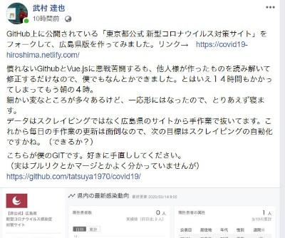広島版を公開した際の、武村さんのFacebookへの書き込み