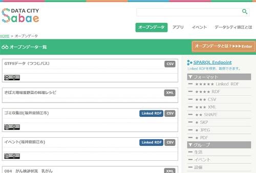 福井県鯖江市のオープンデータ公開サイト。Data City Sabaeとして、早期から様々なデータをオープンデータとして公開し、データハッカソンなども行っている