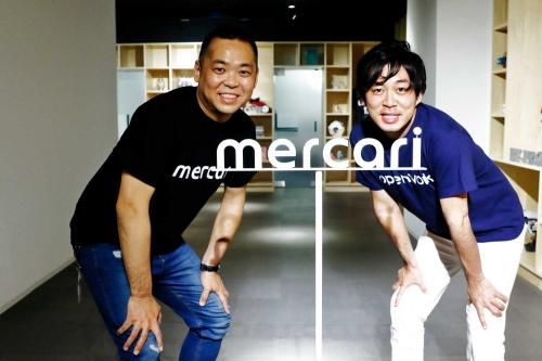 メルカリ社長の小泉文明氏(写真左)とオープンワーク副社長の麻野耕司氏(撮影:竹井俊晴、ほかも同じ)
