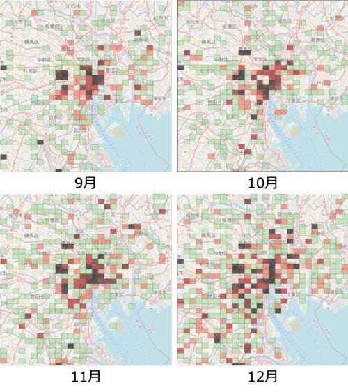 感染事例が報告された場所(都心部、2020年)