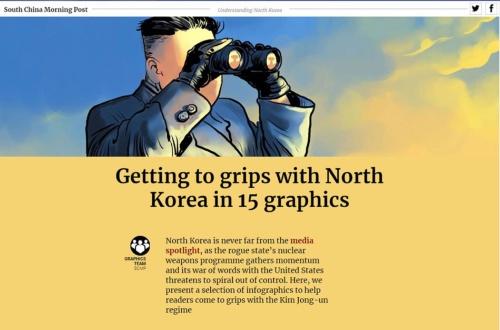 """グラフィックで北朝鮮の状況を可視化した「<span class=""""textColRed""""><a href=""""https://multimedia.scmp.com/news/world/article/to-understand-North-Korea/index.html"""" target=""""_blank"""">Getting to grips with North Korea in 15 graphics</a></span>」。「The Asian Digital Media Awards」のデータ可視化の部門で賞を得た"""