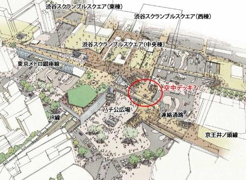 渋谷駅前広場およびデッキのネットワークのイメージ図。京王井の頭線からの連絡通路が、途中で右にある空中デッキとつながっているように見える(赤丸部分)。駅の中心部に黒い実線で描かれている立方体は、渋谷スクランブルスクエア。左から19年11月にオープンした東棟、これから建設が始まる中央棟、西棟。(提供:渋谷駅前エリアマネジメント)
