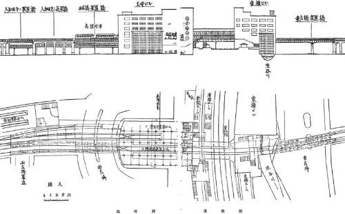 """土木建築工事画報に掲載された玉電ビルの図面。6階建てとして描かれているが、実際は4階となった。ビル内に玉電と東京高速鉄道が入り込んでいる。昭和13年の「<span class=""""textColRed""""><a href=""""http://library.jsce.or.jp/Image_DB/mag/gaho/kenchikukouji/14_06.html"""" target=""""_blank"""">土木建築工事画報</a></span>」より"""