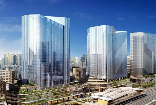 高輪ゲートウェイ駅(右手前)とグローバルゲートウェイ品川。手前2つのビルが4街区。右奥に見えるビルは3街区で、田町駅寄りに建設される(提供:JR東日本)