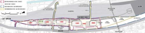 グローバルゲートウェイ品川第Ⅰ期の計画図。高輪ゲートウェイ駅のある4街区の北側に1~3街区が造られる。品川駅寄りには5街区と6街区が建設される予定だ(提供:JR東日本)