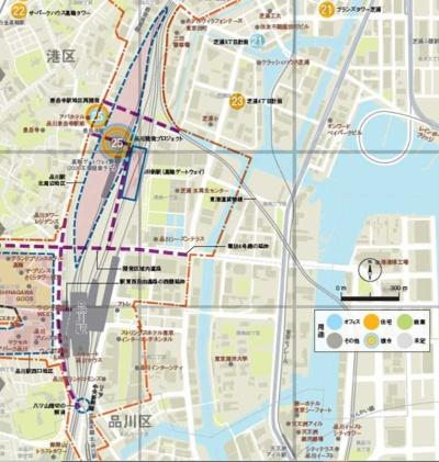 『東京大改造マップ2020-20XX』(日経BP)より抜粋。地図制作:ユニオンマップ。グローバルゲートウェイ品川(図中の青い線で囲まれた部分)の開発は、南にある品川駅の大改造と連携して進む