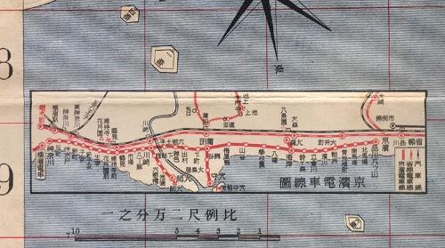 ⼤正5年(1916年)の「東京市全図」(東京便覧社)に描かれた「京浜電⾞線図」。終点が「品川八ツ山」とされている