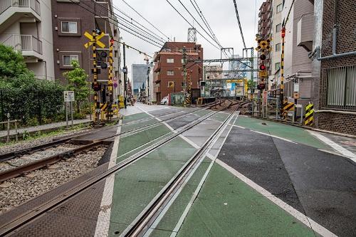 旧東海道を横切る京浜急行の踏切。この地点は高架となり、踏切はなくなる(品川駅側を背に撮影)