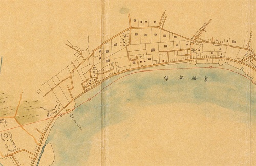 「新橋横浜間鉄道之図」(国立公文書館デジタルアーカイブ)、品川駅周辺。右が北。海上に鉄道が敷かれていることが分かる。品川駅より南は陸地を走る