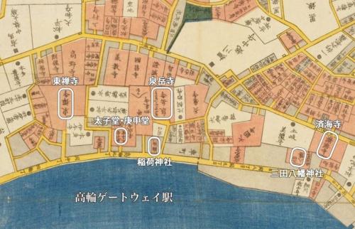 嘉永年間(1848~54年)の江戸切絵図より高輪あたり。右が北。四角く囲ったのは本稿で紹介した場所。泉岳寺の隣には「大仏・如来寺」と書いてあるが、如来寺は西大井へ移転したため現在地にはない