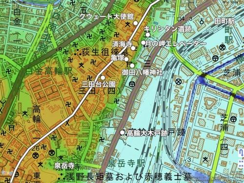 三田台方面の地図。白い丸は文中で紹介する史跡