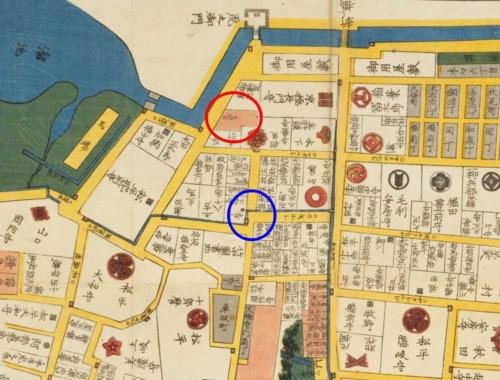 幕末の虎ノ門。金刀比羅宮(「コンピラ」と書かれている、赤丸部分)が見える。青丸あたりに現在の虎ノ門ヒルズ駅がある。「嘉永3年(1850年) 江戸切絵図」国立国会図書館デジタルコレクション