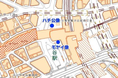 渋谷駅。ハチ公像とモヤイ像はすぐそこの距離にあるが、なぜか近くにあるとは思えない。注釈は筆者(地図:国土地理院)