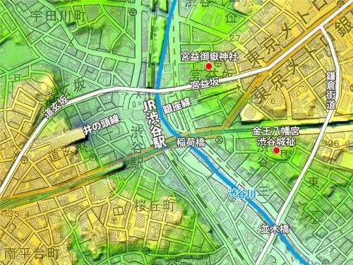 現在の地形図に中世、江戸の重要ポイント、宮益御嶽神社、道玄坂、宮益坂、金王八幡宮(渋谷城址)、鎌倉街道をプロットしてみた