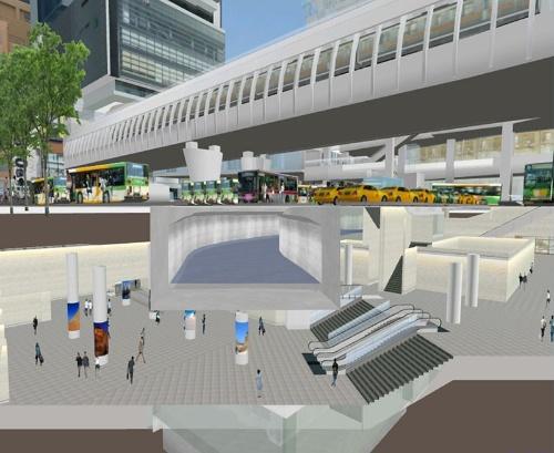 渋谷駅東口地下広場の断面図。東口地下広場の上に渋谷川が流れている。地上に見えるのは東京メトロ銀座線の新駅(図:渋谷駅街区土地区画整理事業共同施行者)