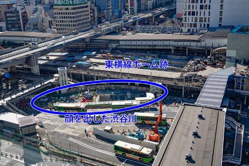 2014年、渋谷ヒカリエから見た一瞬だけ顔を出した渋谷川(写真:荻窪圭)