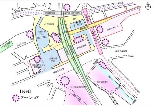 渋谷の再開発では各所にアーバン・コアが設置される。(図:渋谷区 渋谷駅中心地区基盤整備方針 平成24年10月)