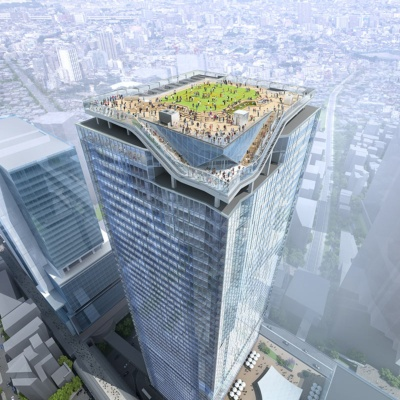渋谷スクランブルスクエア第I期(東棟)の屋上には広大な屋上庭園が造られる(イラスト:渋谷駅街区共同ビル事業者)