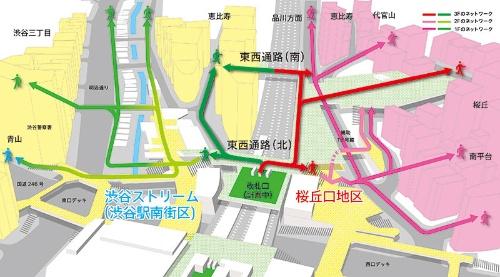 桜丘口地区から歩行デッキを通って渋谷駅の南口(計画中)に行けるだけでなく、JRをまたぐ通路によって、渋谷ストリーム側(東口側)に移動できるようになる(図:東急株式会社)