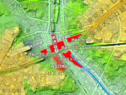 渋谷駅周辺の主な再開発プロジェクト地図