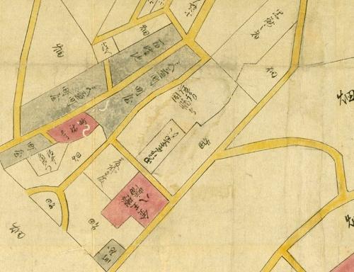 享和(1801~1804)の頃の渋谷の絵図。八幡宮の場所に書かれている「八幡」の文字の隣に「金王櫻」とわざわざ書かれている(国立国会図書館デジタルコレクション)