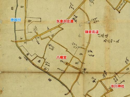 1673年発行の江戸外絵図(国立国会図書館デジタルコレクション)より。江戸時代前期の地図を見ても鎌倉街道は矢倉沢往還(今の青山通り)にぶつかったところで切れていることが分かる