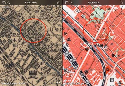 「東京時層地図 for iPad」より。明治の終わりと高度成長期前夜の地図を比較した。高度成長前夜の地図には旧東急東横線の並木橋駅がまだ描かれている。明治期の地図を見ると、直線状の八幡通りはなく、少し左にずれたところが道になっているのが分かる