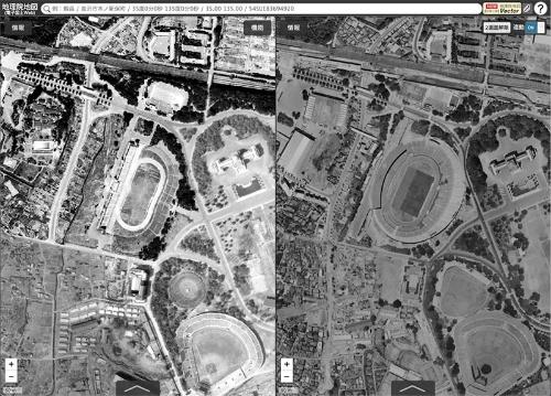 """左が1947年、右が1963年の航空写真。国土地理院より。詳細は<span class=""""textColRed""""><a href=""""http://maps.gsi.go.jp/#17/35.678211/139.714894/&base=std&ls=std%7Cort_USA10&blend=0&disp=11&lcd=ort_USA10&vs=c0j0h0k0l0u0t0z0r0s1m0f0&vs2=f0&sync=1&base2=std&ls2=std%7Cort_old10&blend2=0&disp2=11&lcd2=ort_old10"""" target=""""_blank"""">こちら</a></span>"""