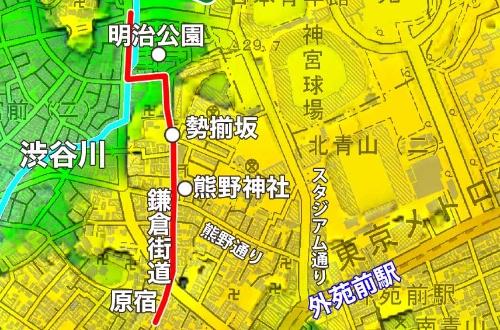 外苑前駅から旧鎌倉街道を経て国立競技場へ向かう
