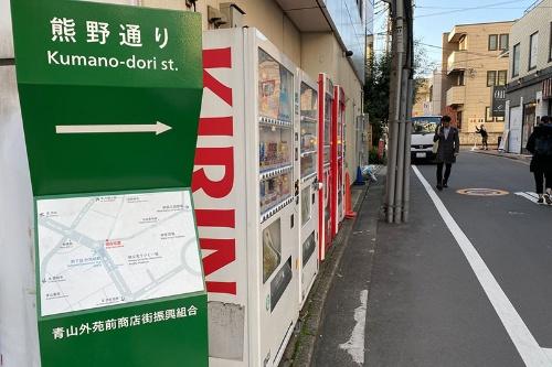 熊野通りから旧鎌倉街道に向けて歩く。しばらく進むと、旧鎌倉街道と交差する十字路に出る。その右角に鎮座する青山熊野神社へ通じる道なので熊野通りと名づけられた