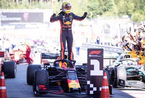 優勝したドライバー、マックス・フェルスタッペンの歓喜。(写真:ホンダ)