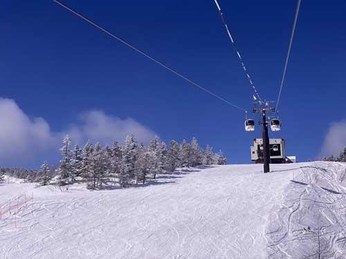ご覧くださいこの晴天。やはりスキーは晴れていないと楽しくありません。