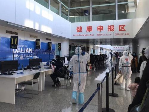 大連空港の健康申告エリア